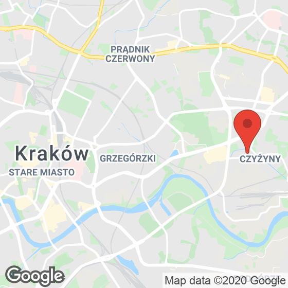 Mapa lokaliacji Czyżyny, ul. Centralna